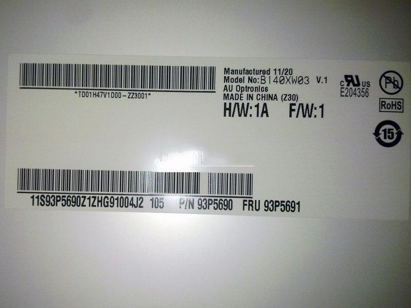 ФОТО AU Optronics B140XW03 V.1 B140XW03 V1 LCD Screen Display Panel 1366*768 LVDS 40pin Test Before Shipping