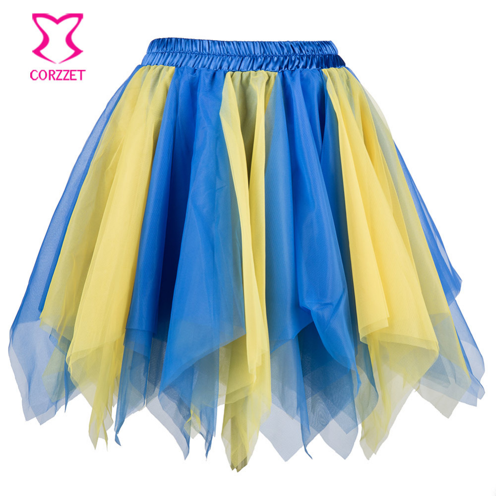 Blue Yellow Layered Asymmetrical Mesh Women Mini Skirt Tulle Halloween Costume Petticoat Sexy Ruffle Skirts Womens Rokken Jupe