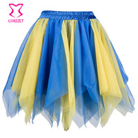 Blue Yellow Layered Asymmetrical Mesh Women Mini Skirt Tulle Halloween Costume Petticoat Sexy Ruffle Skirts Womens