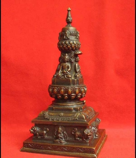 "Tibetan Bronze Stupa dagoba Buddha Statue 7.5""H A"