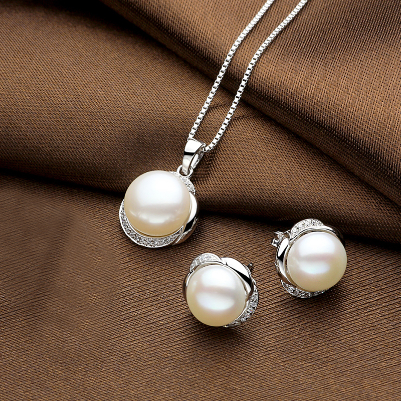 Sinya Natural pearls earring pendant necklace jewelry set for women girl wife in 925 sterling silver AAAAA Pearls diameter 11mm