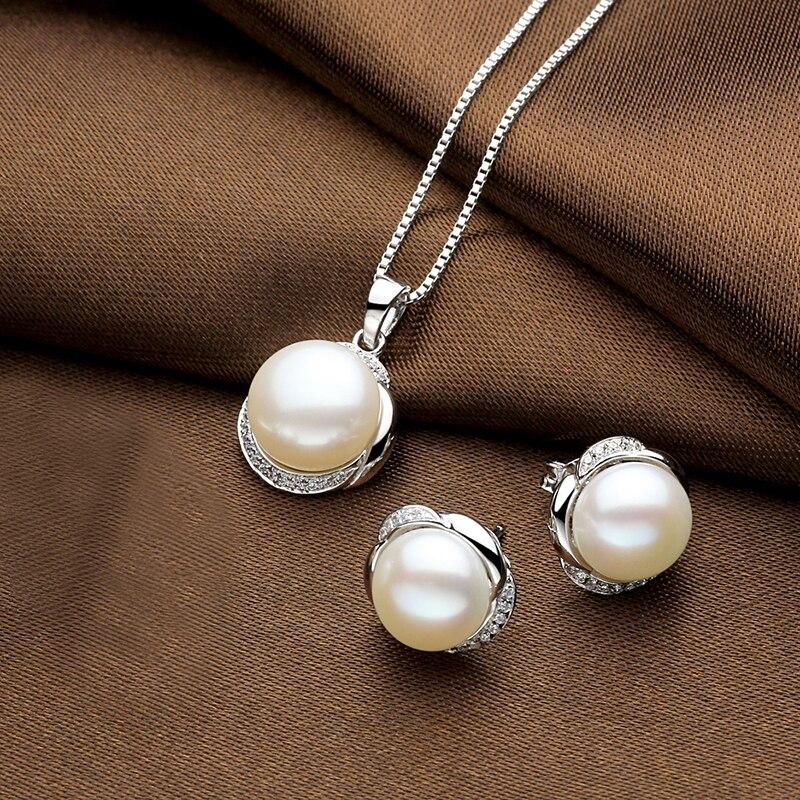 Sinya naturel perles boucle d'oreille pendentif collier parure de bijoux pour femmes fille femme en argent sterling 925 AAAAA perles diamètre 11mm