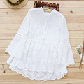 New Women's Sweet Casual Hollow Out Stand Collar Tops Pure Cotton Embroidered Loose Lolita Princess Shirt Blouses Mori Girl U472