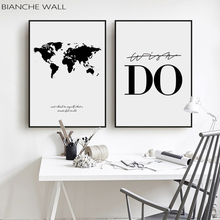 World Map Poster Canvas Wall Art Painting Black And White Print Decorative Pictures Living Room Study