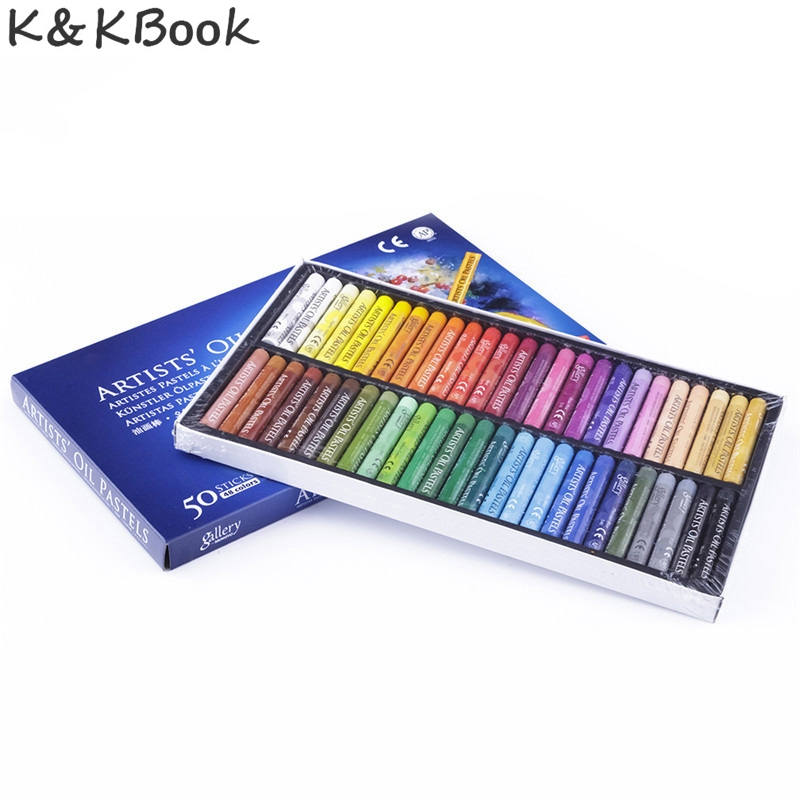 K&KBOOK 50pc/set Oil Pastels Set Student Stationery School Drawing Pen Supplies 50 Color crayons boya kalemi stylo boligrafos