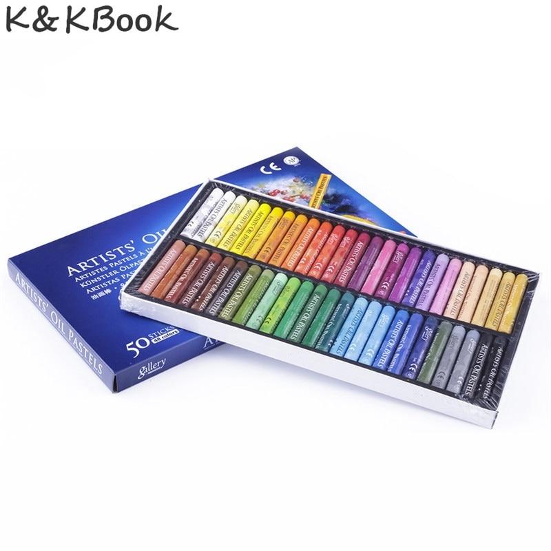 K & KBOOK 50 ชิ้น / เซ็ตพาสน้ำมันชุดนักเรียนเครื่องเขียนโรงเรียนปากกาวาดภาพอุปกรณ์ 50 สีดินสอสี boya kalemi stylo boligrafos