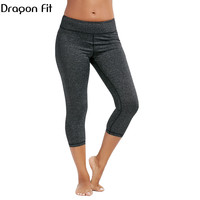 Dragon Fit Women Fitness Yoga Pants 3 4 Length High Waist Tights Running Gym Pants Sport