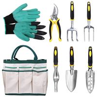 8pcs Aluminum Garden Tools set Garden Kit Mini Spade Shovel Harrow Scissors Grafting Tool Pruners Garden Genie Gloves with bag
