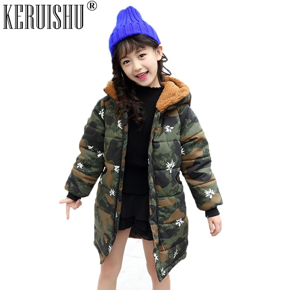 Keruishu Unisex Parkas Coats Children Camo Cartoon Bear Outerwear Kids Winter Warm Cotton Hooded Baby Zipper Thicken Long Jacket
