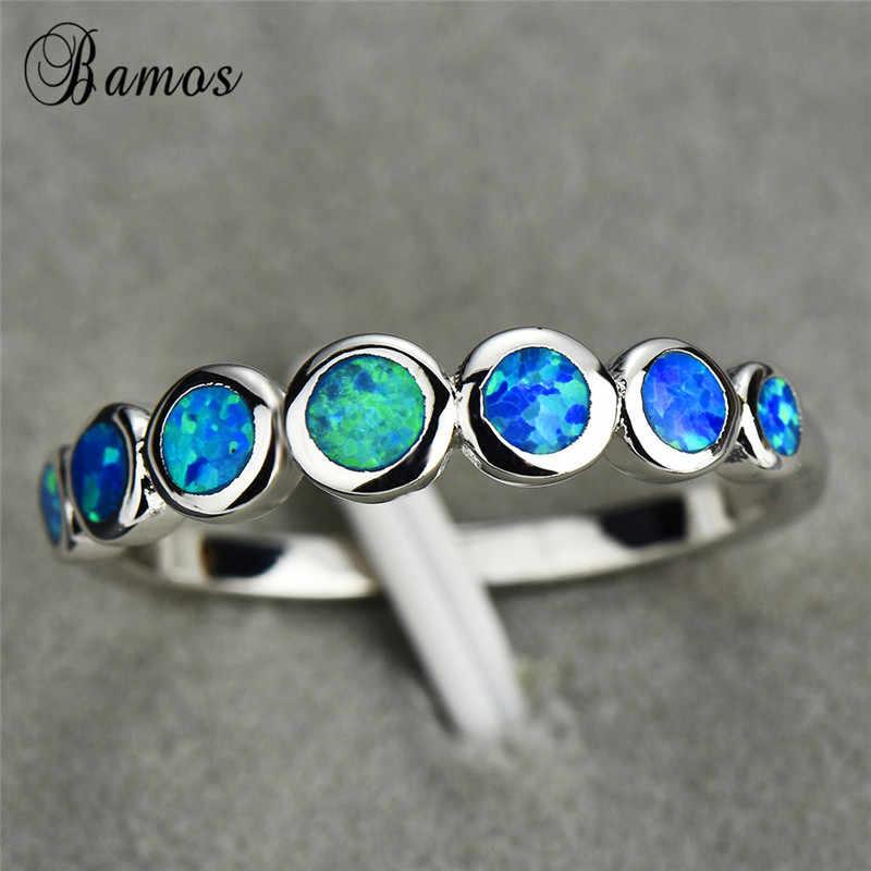 Boho หญิงขนาดเล็กนิ้วมือแหวน 925 เงินสีฟ้าโอปอลหินแหวนงานแต่งงานแหวนหมั้นสำหรับผู้หญิง