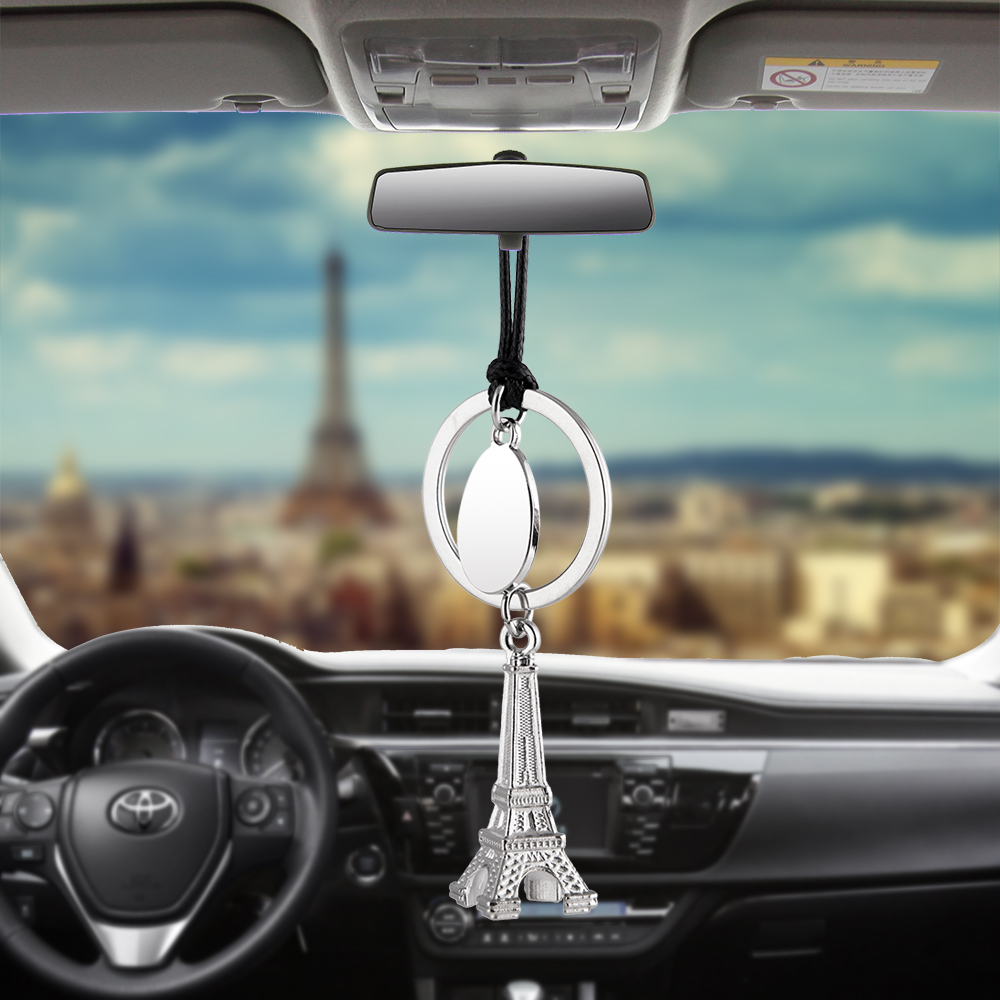 Car Pendant Eiffel Tower Rearview Mirror Decoration Hanging Ornaments Automobiles Interior Car Accessories Charm Holiday Gifts