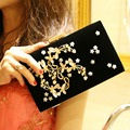 Alloy Diamonds Women Evening Bags Black Color Leaf Rhinestones Handbags With Chain Shoulder Messenger Bag For Wedding