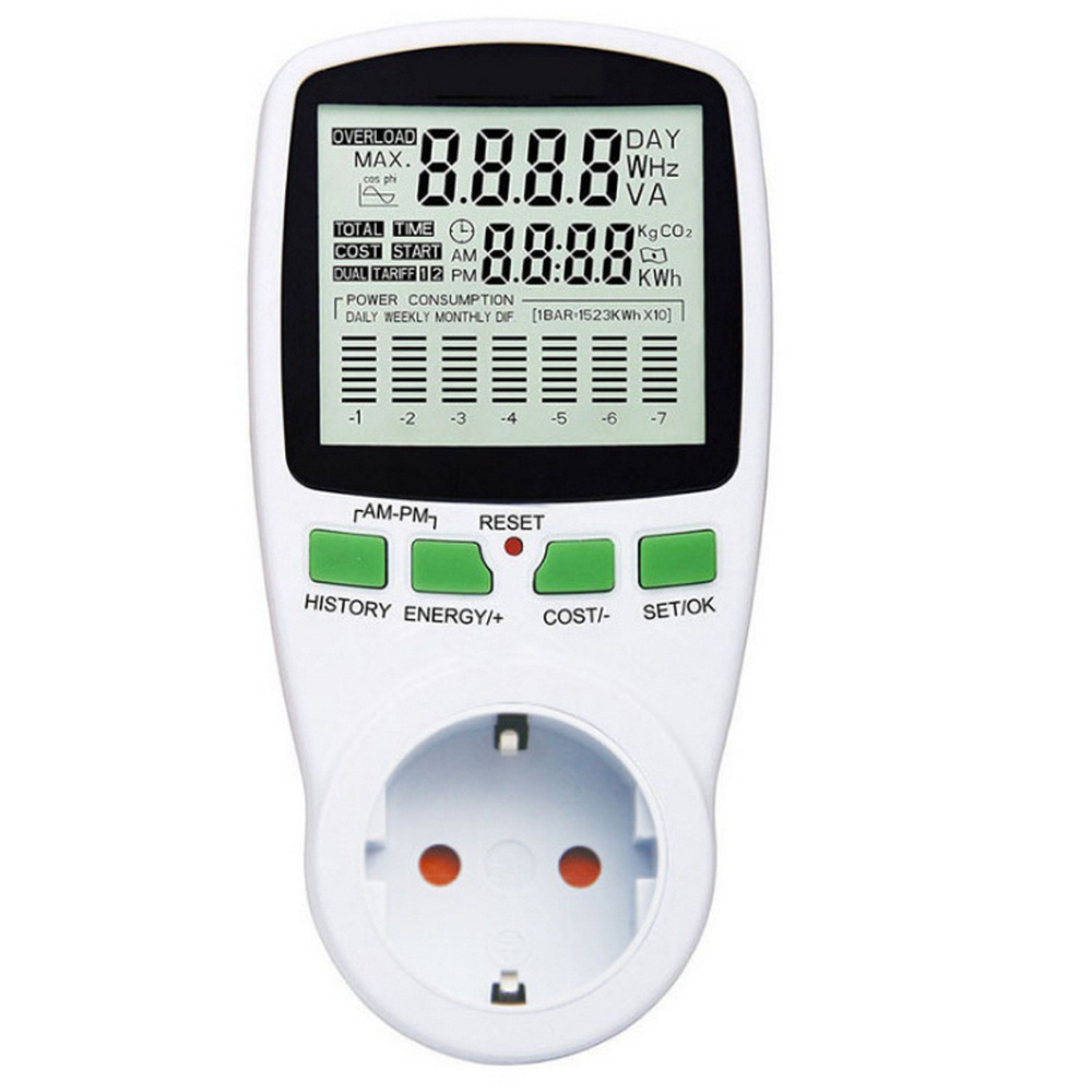 EU Digital LCD Energy <font><b>Meter</b></font> Wattmeter Wattage <font><b>Electricity</b></font> Kwh Power <font><b>Meter</b></font> Measuring Measuring Outlet Power Analyzer EU Plug New image