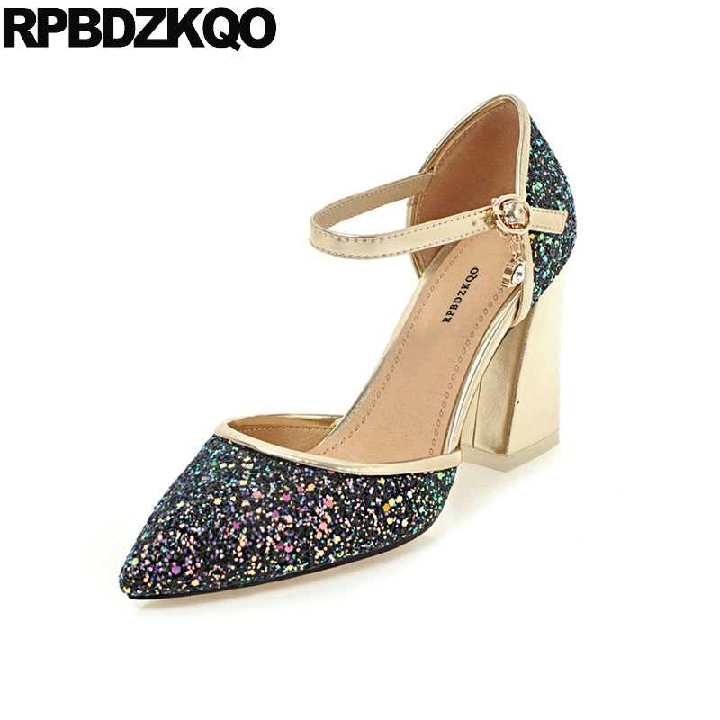 Gold Bridal Shoes Sequin Pointed Toe Ladies Bling Plus Size Block Sandals  10 42 Pumps White 1f56f5bb0f80