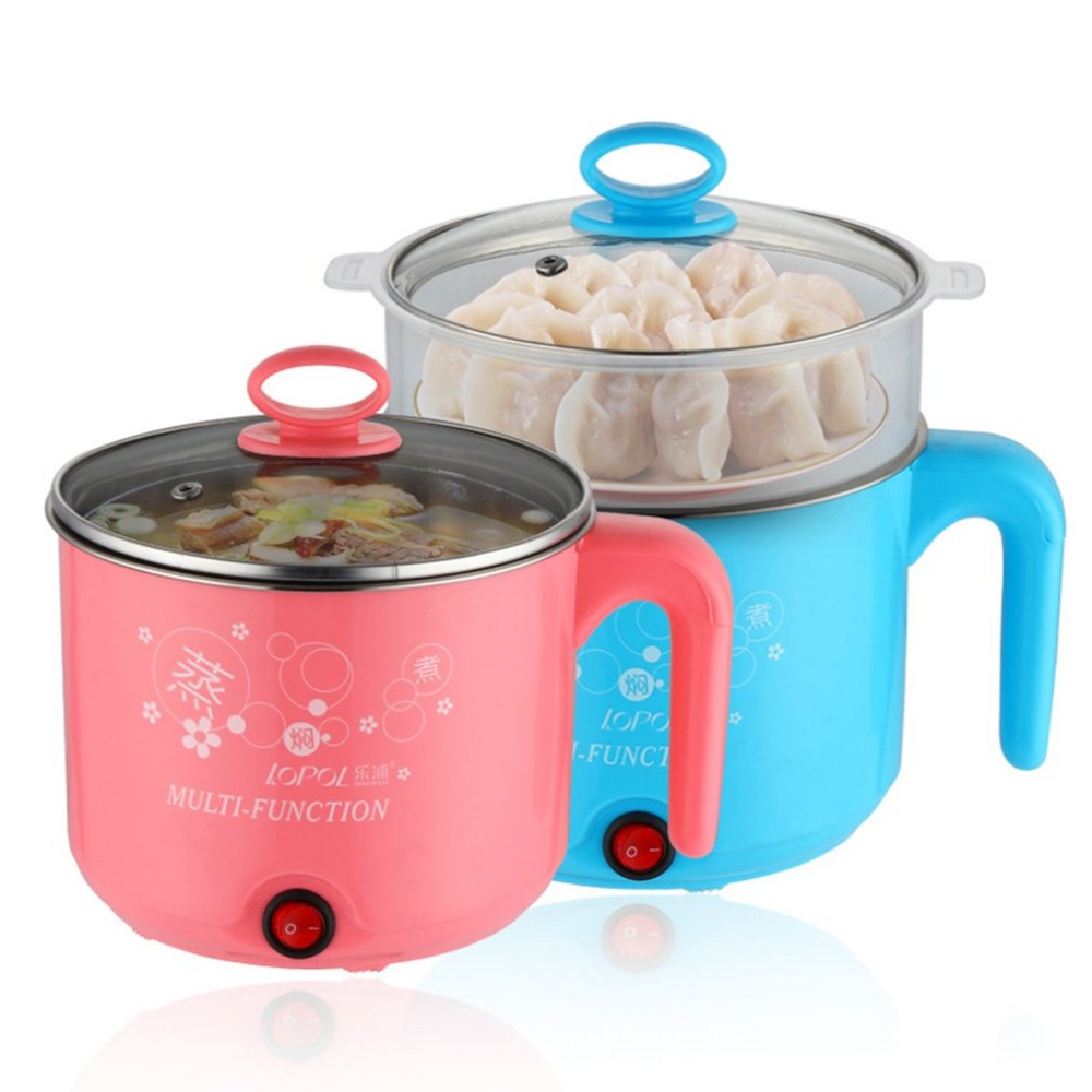 1.8L Multifunction Stainless Steel Electric Cooker with Steamer Hot Pot Noodles Pots Rice Cooker Steamed Eggs Pan Soup Pots multifunction electric skillet stainless steel hot pot noodles rice cooker steamed egg steamer soup pot for students dormitory