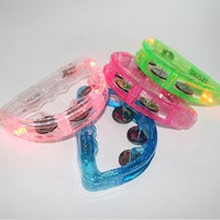 100pcs/lot Colorful LED Flashing Baby Rattle Hand Bell Light Up LED Tambourine Luminous Toys Bar KTV Party Cheering Prop