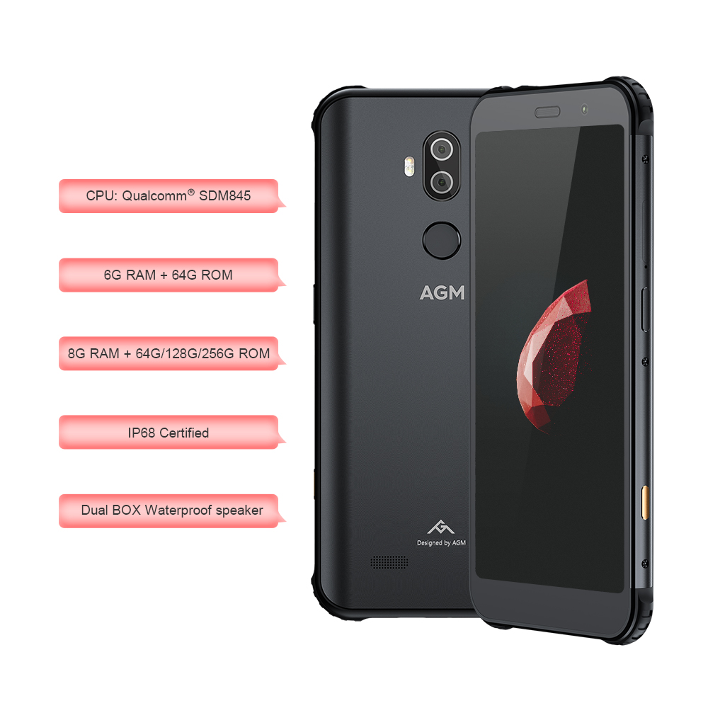 Image 4 - OFFICIAL AGM X3 5.99'' 4G Smartphone 8G+64G SDM845 Android 8.1 IP68 Waterproof Mobile Phone Dual BOX Speaker tuned by JBL NFC-in Cellphones from Cellphones & Telecommunications