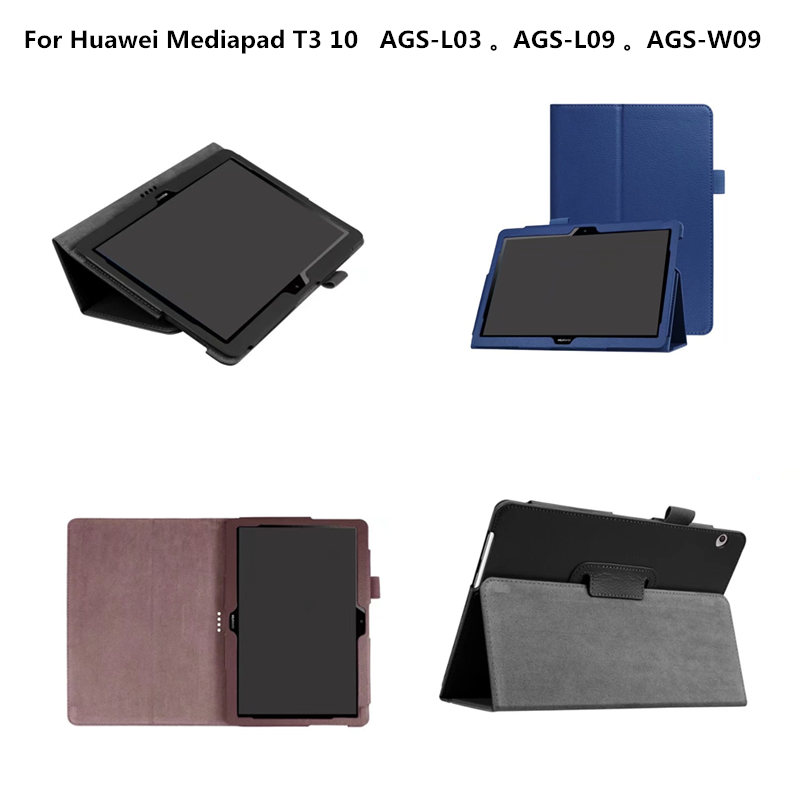 Litchi Style PU Leather Tablet Case Book cover funda Cases for Huawei Mediapad T3 10 AGS-L03 AGS-L09 AGS-W09 9.6'' tablet luxury business case for huawei mediapad t3 10 ags l09 ags l03 9 6 inch cover funda tablet leather hand belt holder stand shell