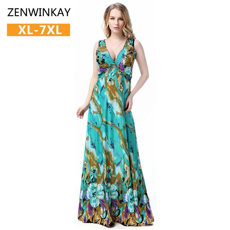 1186a324a30 2017 damen kleider grün kleider boho bohemian floral maxi dress strand  frauen sommer dress lange sommerkleid plus größe xxxl 4xl 5xl in 2017 damen  kleider ...