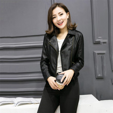 Faux Leather Coat Women Black XS-4XL Plus Size  Moto Leather Jacket 2019 New Spring Korean Short Slim Chic PU Coat Feminina LR25 chic faux leather adorn bracelet