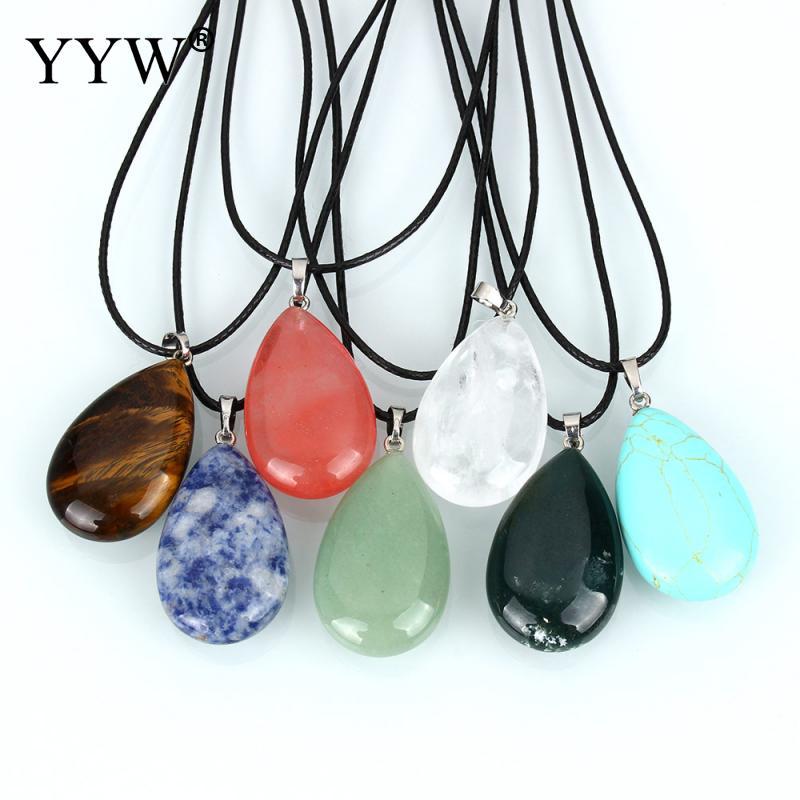 YYW Hot Sale Women Natural Gems Stone Teardrop Leather Cord Choker Necklace Malachite Quartz Opal Rose Stone Pendant Necklaces