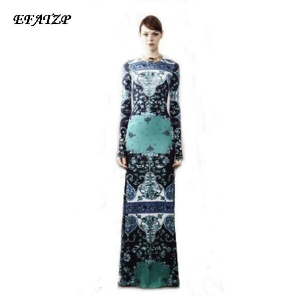 Runway High Street Fashion Women's Long Sleeve Slash Neck Vintage Geometric Jersey Silk Dress Floor Length Sheath Dress