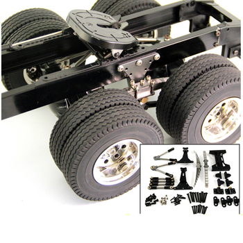 цена на 1Set 1/14 Tamiya Tractor Rear Axle Suspension Assembly Kit Metal Bridge Central Tie Rod Bracket for 1:14 RC Cars Spare Parts