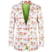 Navidad chaqueta Santa Claus Blazer impresión Floral etapa chaqueta Casual  Chaqueta Slim Fit DJ fiesta vestido Blaser 2019 de mo. 7be82a0d589