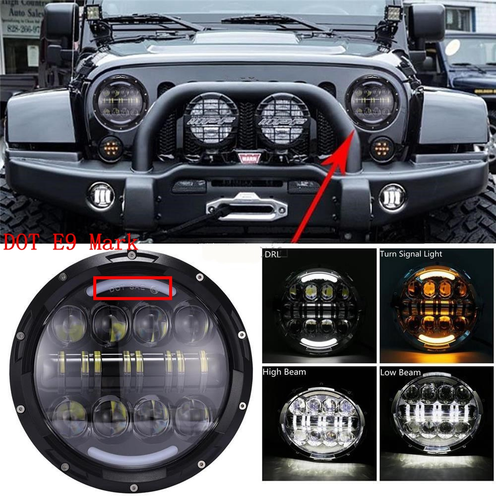 2X 7 inch Round LED Headlight Hi/Lo Beam With DRL Amber Turn Signal Halo For Jeep Wrangler 2007-2015 Jk TJ FJ Headlamp 2pcs new design 7inch 78w hi lo beam headlamp 7 led headlight for wrangler round 78w led headlights with drl