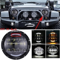 2X 7 Inch Round LED Headlight Hi Lo Beam With DRL Amber Turn Signal Halo For