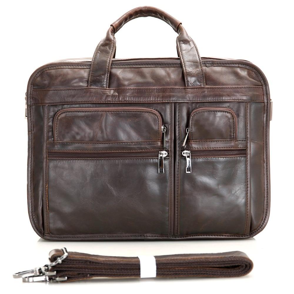 J.M.D 100% Genuine Vintage Leather Men's Chocolate Messenger Bag Briefcase Laptop