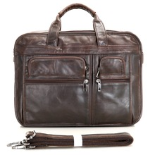 J.M.D 100% Genuine Vintage Leather Men's Chocolate Messenger Bag Briefcase Laptop