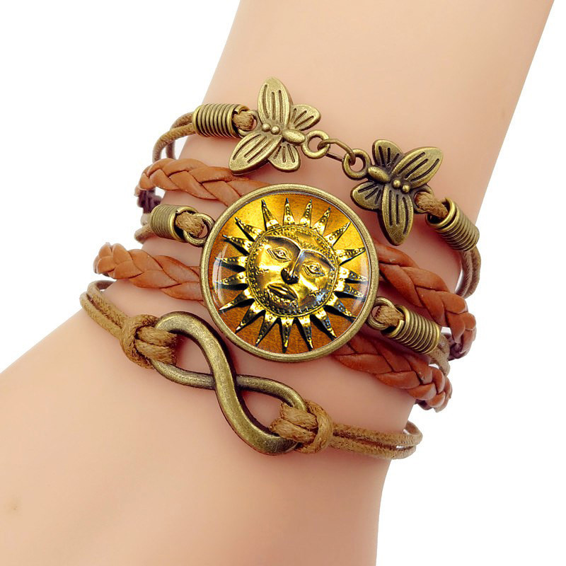Milky Way Starry Sky Antique style Sun Medieval Multilayer Handmade Leathers Braided Bracelet Handmade Leathers bracelet