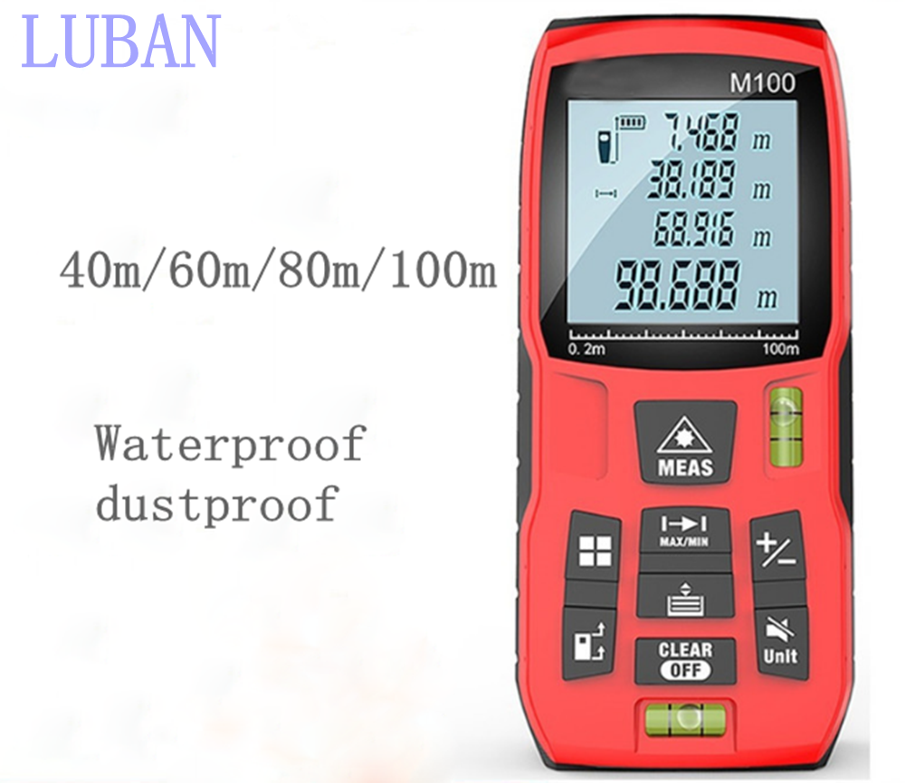 Laser Distance Meter 40M 60M 80M 100M Laser Rangefinder Laser Range Finder ruler Infrared distance measuring instrument LUBAN free shipping kapro 810 clamp device laser infrared horizontal marking ruler
