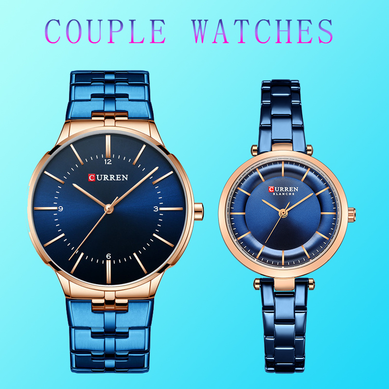 CURREN Couple Watches Lovers Minimalist-Watch Business Stainless-Steel Waterproof Men Women