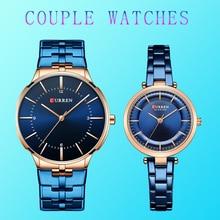 CURREN Couple montres pour amoureux acier inoxydable minimaliste montre hommes femmes Relogio Masculino affaires étanche Reloj Hombre