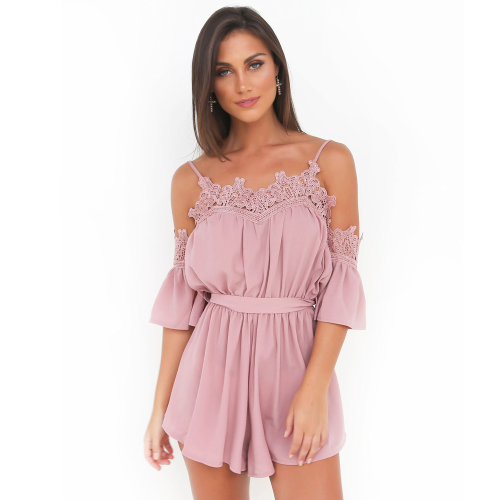 Causey Lace Chiffon Spaghetti Strap V-Neck Sexy Jumpsuit Bodysuit Women Playsuit 2018 Summer Beach Party bodysuit