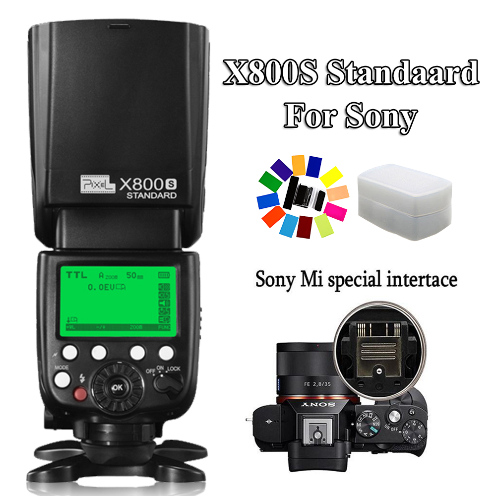 INSEESI X800S Standard GN60 2.4G 1/8000S Wireless TTL HSS Flash Speedlite FlashLight For Sony A7 A7S A7R A6000 A6300 DSLR pixel x800s standard gn60 hss ttl flash speedlite 2pcs king pro 2 4g flash trigger transceivers for sony a7 a7s a7r a7rii