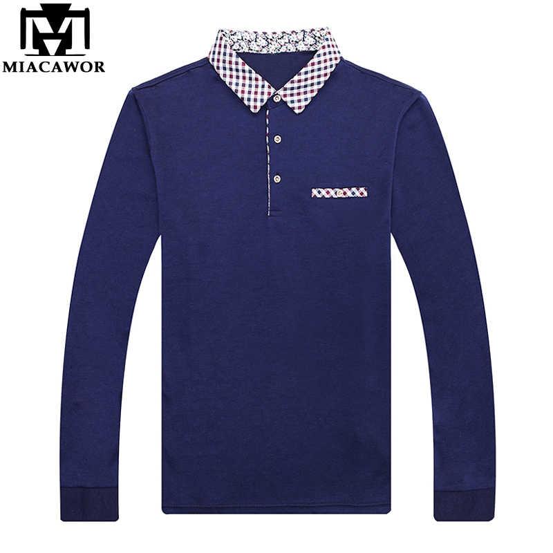 Miacawor Новый Для мужчин Поло рубашка из хлопка с длинными рукавами на весну одноцветное Поло рубашка с воротником, футболка, рубашка Camisa рубашка поло мужская T709