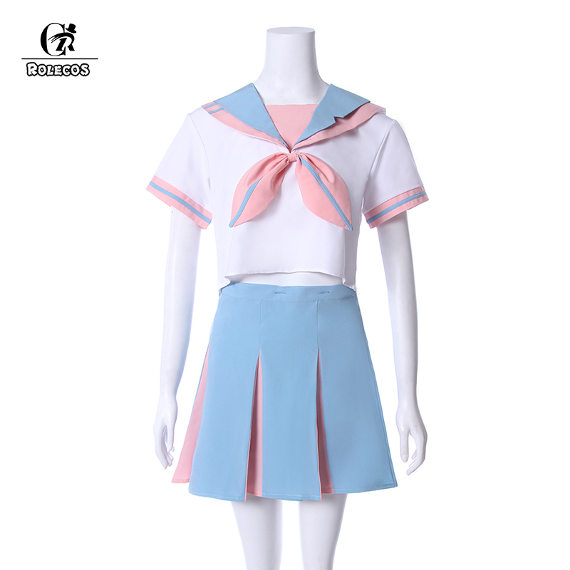 ROLECOS New Arrival Japanese School Girl Uniforms Short Sleeve Cute Bunny Ears Pink Uniform With Tie