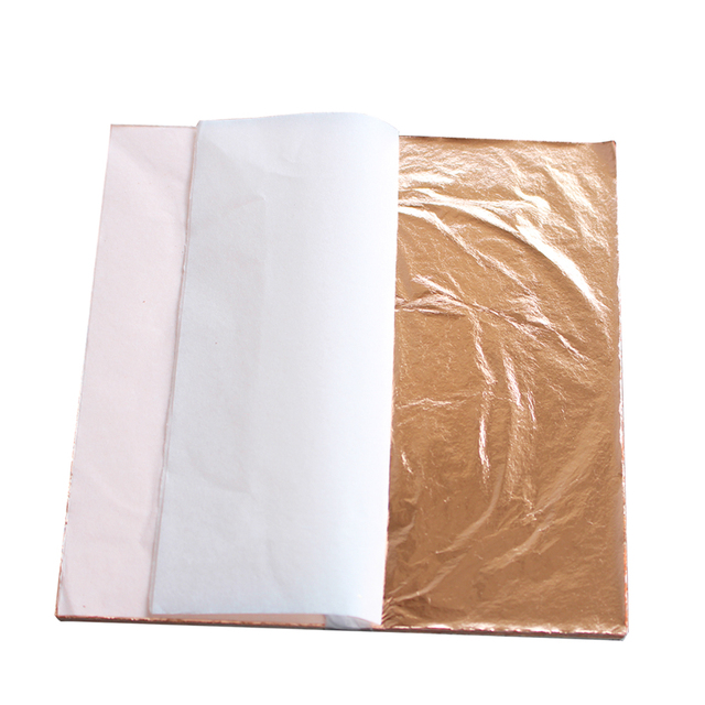 Color 0 , imitation gold leaf ,100%copper foil sheets 100 leaves per pack – 14 x 14 cm – for gilding – art work, gilding work