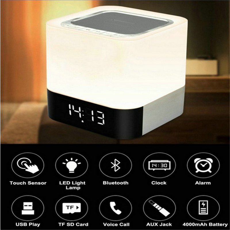 Xiamelon Touch LED Bluetooth Speaker Portable Wireless Hands Free Alarm Clock Multi-Function Night Light Music Speaker with Mic multi function b13 wireless portable bluetooth speaker night light camping outdoor mini audio subwoofer hands free fm radio