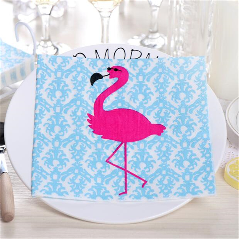 20pcs Flamingo Napkin Paper Flamingo Theme Wedding Party Decorations Summer Pool Beach Birthday Decoration Kids Party Supplies
