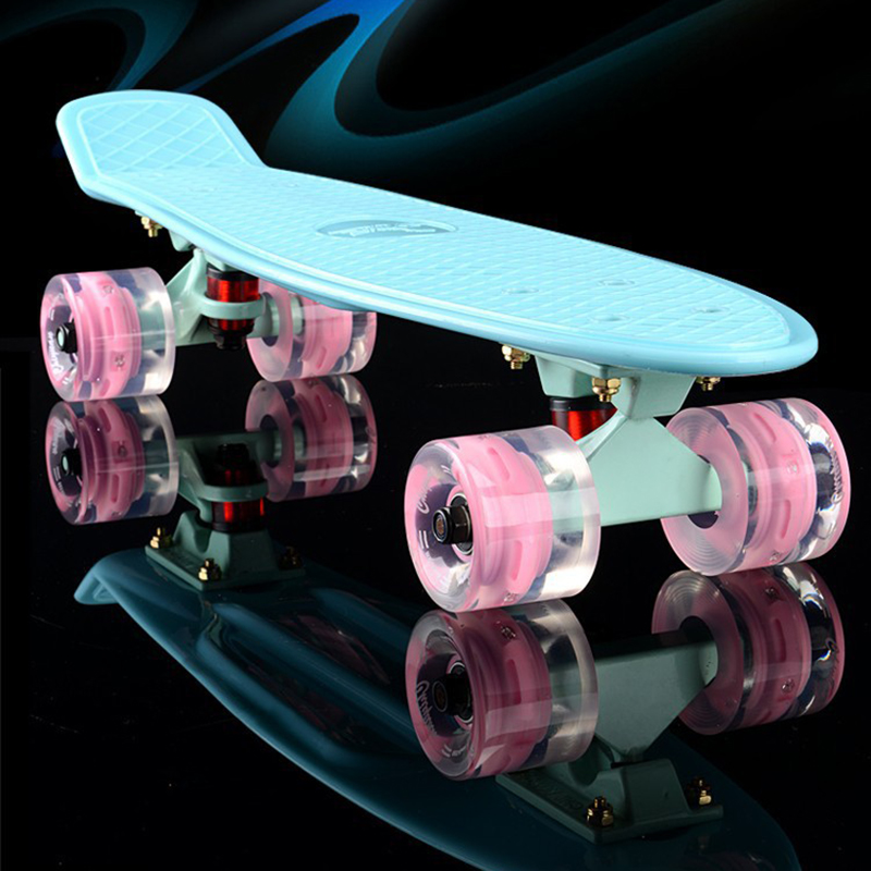 New Plastic mini cruiser skateboard small skateboarding single banana longboard adult children become warped road skate board