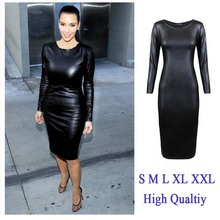 Long sleeve black leather dress online shopping-the world largest ...