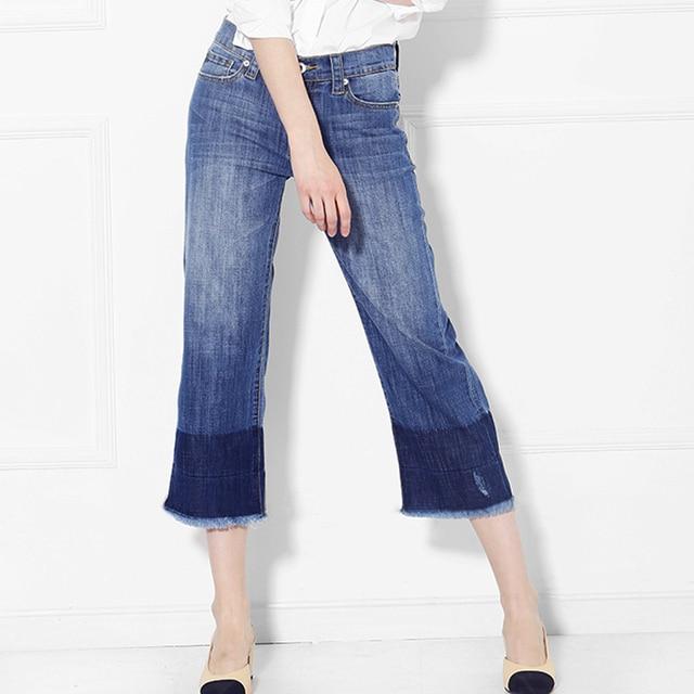 d5920cd2d Retro Style Women Gradient Wide Leg tassel Crop Jeans Female High Waist  Panelled