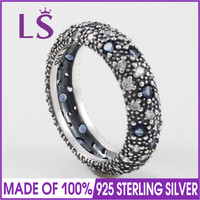 LS Hot Sale High Quality Real 925 Sterling Silver Cosmic Stars Midnight Blue Ring For Women