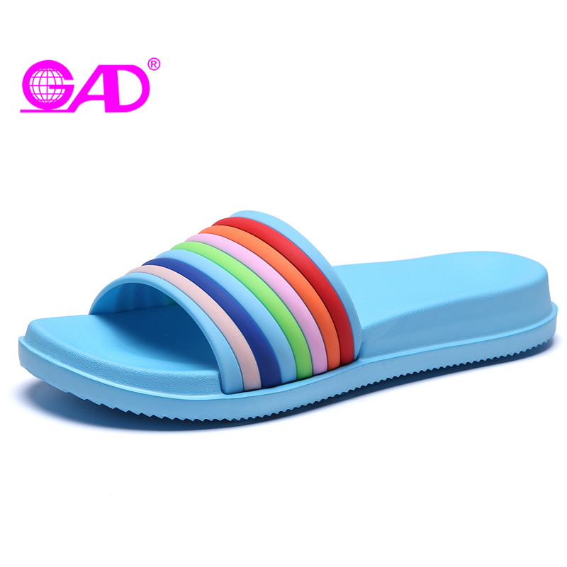 GAD 2018 New Fashion Summer No-slip Breathable Women Slippers Colorful Outdoors Damping Flat Shoes Women Light Slides women s shoes 2017 summer new fashion footwear women s air network flat shoes breathable comfortable casual shoes jdt103