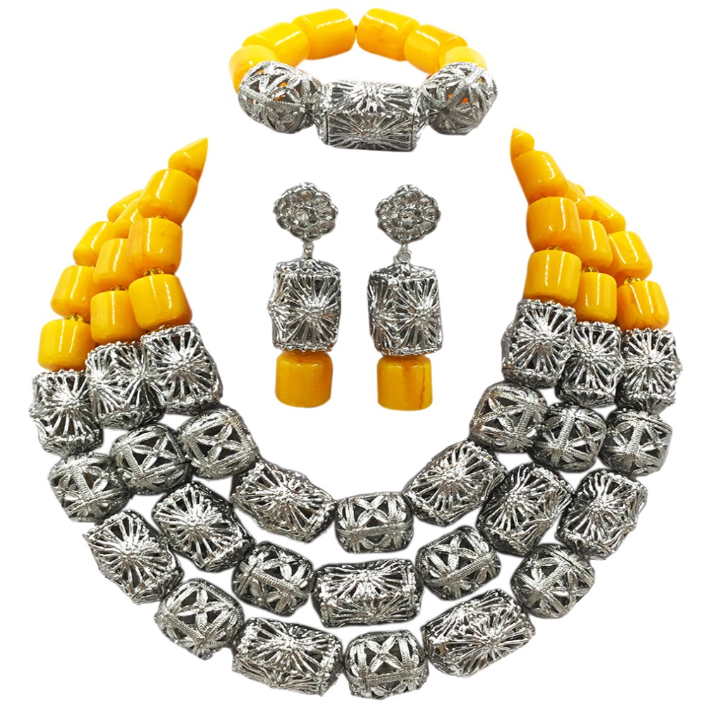 Latest Yellow Artificial Coral Beads Jewelry Set African Necklace for Women Nigerian Wedding ACB-09 latest yellow and gold beaded artificial coral nigerian wedding african beads jewelry set acb 11