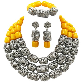 Latest Yellow Artificial Coral Beads Jewelry Set African Necklace for Women Nigerian Wedding ACB-09